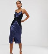Little Mistress Tall sequin lace trim bodycon dress