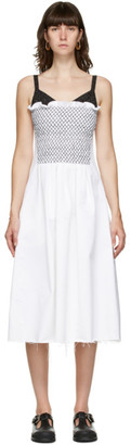 Marina Moscone White Smocked Mid-Length Dress