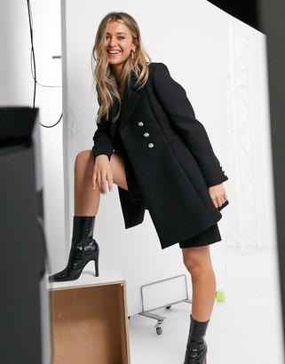 Morgan double-breasted swing coat in black