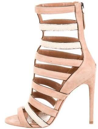 Alaia Stingray Suede Cage Sandals