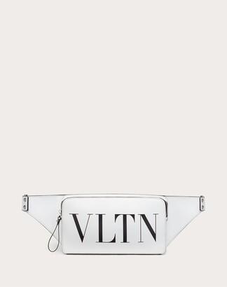 Valentino Garavani Uomo Vltn Leather Belt Bag Man Optic White/black 100% Pelle Bovina - Bos Taurus OneSize