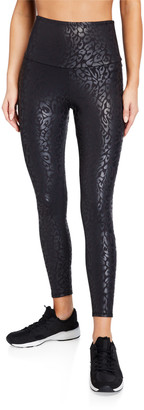 Onzie High-Rise Animal-Print Foil Midi Leggings