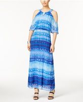 NY Collection Printed Cold-Shoulder Maxi Dress