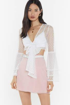 Nasty Gal Womens Heart Mesh Frill Tie Front Top - White - 6, White