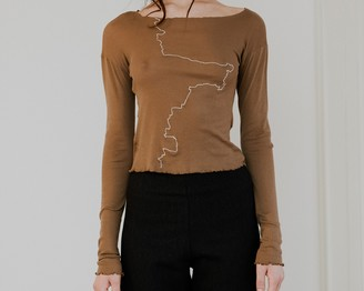 Base Range Ande Brown Long Sleeve Gerrymandered Top - S | Ande Brown