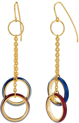 Gold & Honey Thin Double Drop Lucite Earrings With Chain