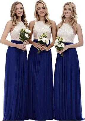 WTW Women's Long Chiffon Lace Party Ball Prom Bridesmaid Dress-Pink-14