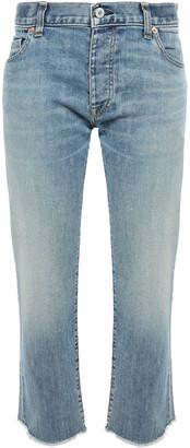 Nili Lotan Cropped Frayed Faded Boyfriend Jeans
