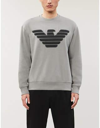 Giorgio Armani Eagle logo-print crewneck cotton-blend sweatshirt