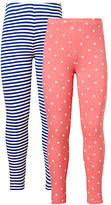 John Lewis Girls' Stripe And Polka Dot Leggings, Pack of 2