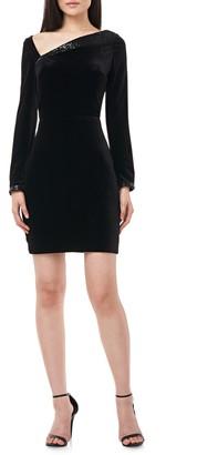 Theia Satin & Sequin Cross Back Long Sleeve Cocktail Dress