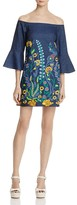 Alice + Olivia Kyra Embroidered Off-The-Shoulder Dress