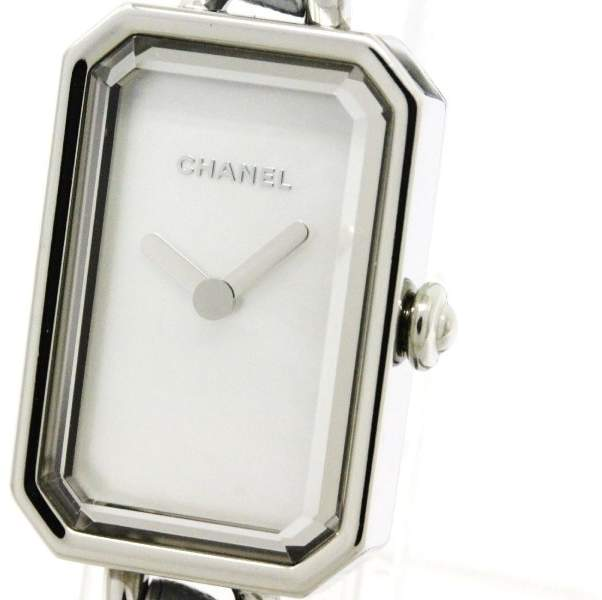 Chanel Premiere H4327 Stainless Steel & Leather Rock Pastel Blue MOP Dial 20mm Womens Watch