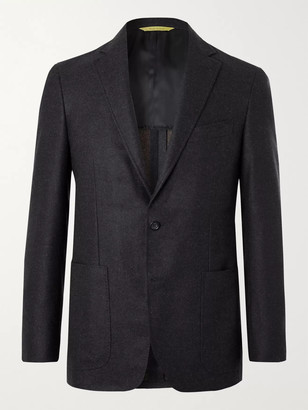 Canali Kei Slim-Fit Unstructured Melange Wool Blazer