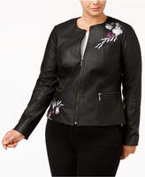 Alfani Plus Size Embroidered Faux-Leather Moto Jacket, Created for Macy's