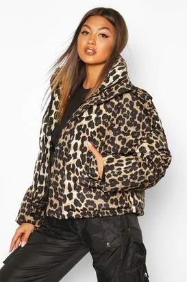 boohoo Leopard Print Puffer Jacket