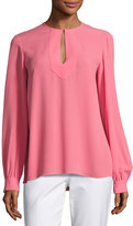 Michael Kors Split-Neck Silk Blouse, Pink