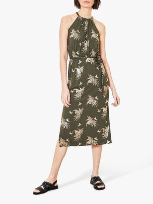 Oasis Foil Palm Leaf Print Dress, Khaki