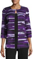 Misook Abstract-Print Jacket, Purple