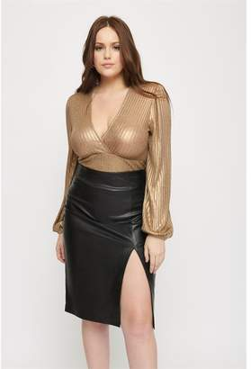 Dynamite Metallic V-Neck Top - FINAL SALE Gold
