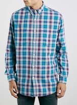 Topman Blue Pastel Casual Check Skater Fit Long Sleeve Shirt