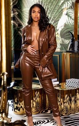 PrettyLittleThing Black PU Oversized Double Breasted Pocket Front Blazer