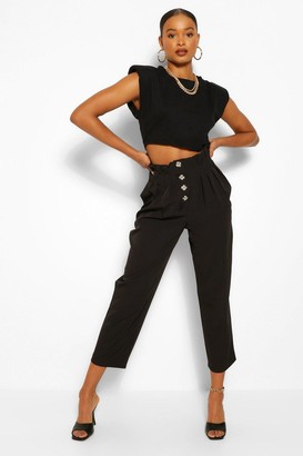 boohoo Button Front Paperbag Waist Woven Trousers