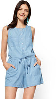 New York & Co. Ultra-Soft Chambray Romper - Indigo Blue Wash
