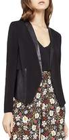 BCBGeneration Faux-Leather Trim Tuxedo Blazer