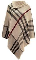 Chaos Theory Women's Checked Knitted Winter Tartan Cape Stylished Poncho Stone