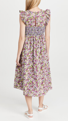 ENGLISH FACTORY Floral Smocked Midi Dress