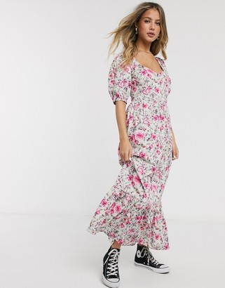 Asos DESIGN tiered maxi dress with puff sleeves and open back in ditsy floral print