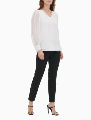 Calvin Klein Solid V-Neck Chiffon Pleated Long Sleeve Top