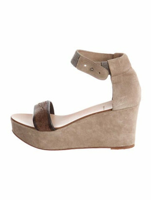 Brunello Cucinelli Suede Wedge Sandals Tan