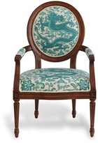 """The Well Appointed House Avery Fruitwood Chairs with Scalamandre Turquoise """"Chi'en Dragon"""" Fabric-Set of 2"""