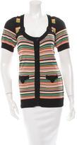 Nanette Lepore Striped Short Sleeve Cardigan