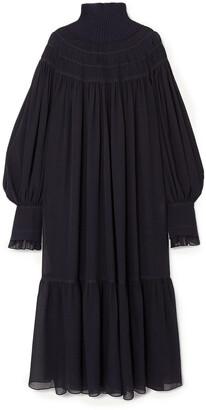 Chloé Oversized Ribbed Wool And Pleated Silk-chiffon Maxi Dress