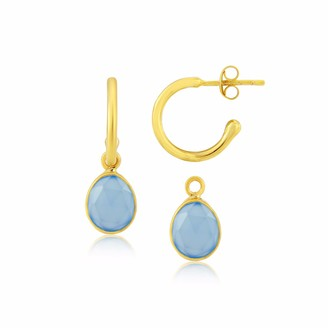 Manhattan Gold & Blue Chalcedony Interchangeable Gemstone Earrings