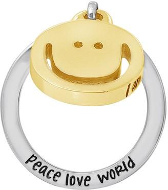 Peace Love World Sterling Silver Charm DangleRing