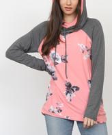 Egs By Eloges egs by eloges Women's Tunics PINK - Pink & Gray Floral Raglan Hoodie - Women & Plus