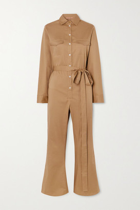 Maggie Marilyn Net Sustain Bite The Bullet Cropped Belted Cotton-blend Twill Jumpsuit - Beige