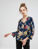 B.young Floral Collarless Blouse