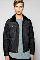 Boohoo Borg Collar Washed Black Denim Jacket