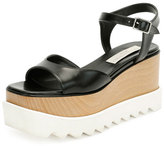 Stella McCartney Faux-Leather Platform Creeper Sandal, Black