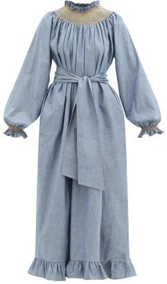 Loretta Caponi Loretta Smocked Cotton-chambray Maxi Dress - Blue