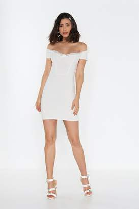 Nasty Gal Womens Good Riddance Off-the-Shoulder Bodycon Dress - white - 12