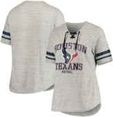 Unbranded Women's Majestic Heathered Gray Houston Texans Plus Size Sleeve Stripe Lace-Up V-Neck T-Shirt