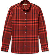 Burberry Checked Cotton-flannel Shirt - Red