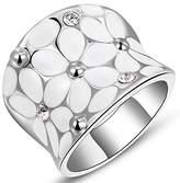 YulanZhi Womens Elegant Enamel Flower White/Rose Gold Band Bloom Petal Platinum Wedding Engagement Ring Crystal Inlay,Large (, 6)