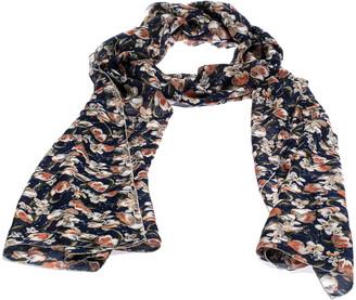 Roberto Cavalli Blue Floral Print Silk Scarf